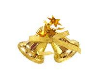Golden Christmas handbell on white background royalty free stock image