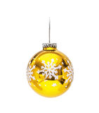 Golden Christmas hanging sphere  with decoration snowflake Royalty Free Stock Image