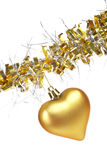 Golden Christmas heart. One golden Christmas heart, isolated on white background Stock Images