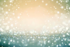 Golden Christmas holiday defocused background Stock Photos