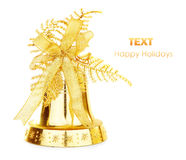 Golden Christmas jingle bell Stock Photography