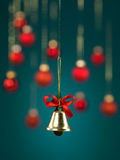 Golden christmas jingle bell Royalty Free Stock Image