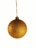 Golden christmas ornament. Golden christmas ball isolated over white background stock photo