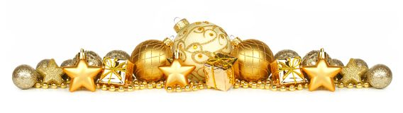 Golden Christmas ornament border over white Stock Photography