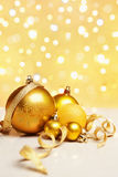 Golden Christmas Ornaments Stock Photo