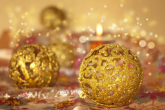 Golden Christmas ornaments Royalty Free Stock Photography