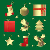 Golden Christmas ornaments. Icon set isolated on white background, vector illustration Stock Images