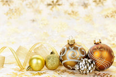 Golden Christmas ornaments background. Golden Christmas background with gold balls and ornaments Royalty Free Stock Image