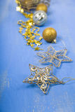 Golden Christmas ornaments Stock Image