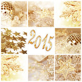 2015, golden christmas ornaments collage. 2015, golden christmas ornaments and decorations collage Stock Images