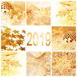 2019, golden christmas ornaments collage greeting card. 2019, golden christmas ornaments collage square greeting card stock image