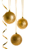 Golden Christmas Ornaments isolated on white background Stock Image
