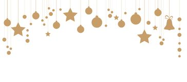 Christmas ornaments isolated on white background. Garland with hanging balls and stars. Great for New year party posters, website. Golden Christmas ornaments stock illustration