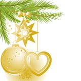 Golden Christmas ornaments and pine tree. Festive Christmas background golden ornaments Stock Images