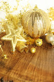 Golden Christmas ornaments Royalty Free Stock Photo