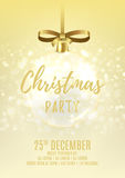 Golden Christmas party flyer with glass ball Stock Images