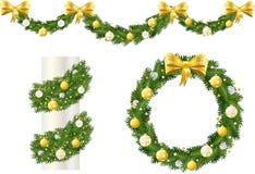 Golden Christmas pine decorations Stock Photos