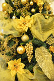 Golden christmas pine tree ,with golden balls Royalty Free Stock Images