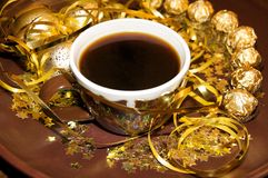 Golden Christmas Plate with Coffee Cup Royalty Free Stock Image