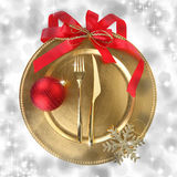 Golden Christmas plate Royalty Free Stock Photos