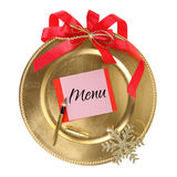 Golden Christmas plate stock photo