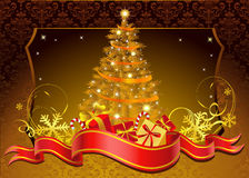 Golden Christmas poust card. Vector illustration which may be used as greeting card Royalty Free Stock Photography
