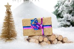 Golden Christmas Present Royalty Free Stock Photos