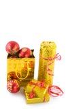 Golden christmas presents Royalty Free Stock Photo