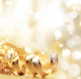 Golden christmas ribbon Royalty Free Stock Images