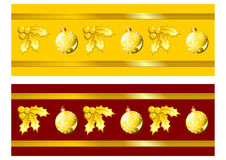 Golden Christmas ribbons Stock Photography