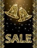 Golden christmas sale banner Stock Photos