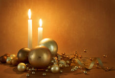 Golden christmas scene stock photo