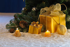 Golden Christmas on snow Royalty Free Stock Photo