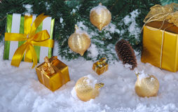 Golden Christmas on snow Royalty Free Stock Photos