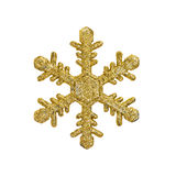 Golden christmas snow flake. Isolated on white Royalty Free Stock Image