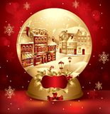 Golden christmas snow globe Royalty Free Stock Photo