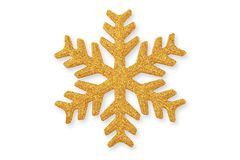 Golden Christmas snowflake, Christmas ornament on whit stock images
