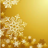 Golden Christmas snowflakes background Stock Photography