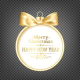 Golden christmas sphere. Royalty Free Stock Photo