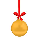 Golden Christmas sphere. With tape and bow on white Stock Photography