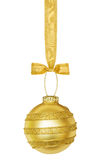 Golden Christmas Sphere With Ribbon Stock Photos
