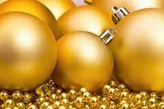 Golden Christmas spheres Royalty Free Stock Photo