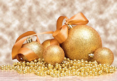 Golden Christmas spheres Royalty Free Stock Images