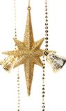 Golden christmas star and bells. Stock Images