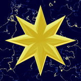 Golden Christmas star carved out of wood Royalty Free Stock Photo