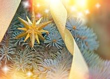 Golden Christmas star on Christmas tree Stock Photo
