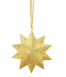 Golden Christmas star isolated on white. Background royalty free stock images