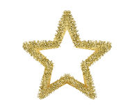 Golden Christmas star isolated on white Stock Photos