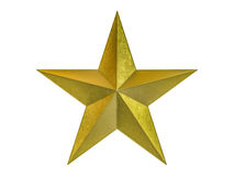 Golden Christmas Star isolated on white Background. 3D Royalty Free Stock Image