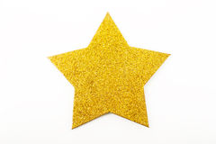 Golden christmas star ornament isolated on white Stock Photo